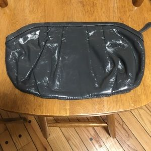 Vintage dK gray patent shiny clutch bag purse GAP